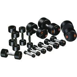 Série d'haltères ronds complète de 2 à 30 kg.