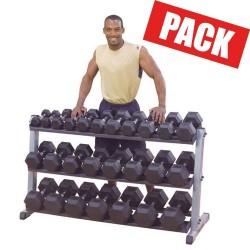 Pack 1 porte haltères + 13 paires d'haltères hexagonaux de 2 à 26 kg