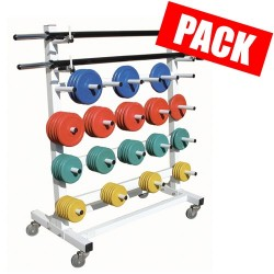 Pack barre + disques 8.5 kg + rack