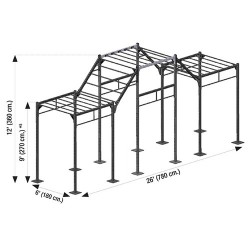 Cross station 780 x 180 x 360 cm