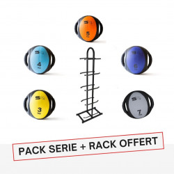 PACK PRO MEDECINE BALL DOUBLE POIGNEES + RACK OFFERT
